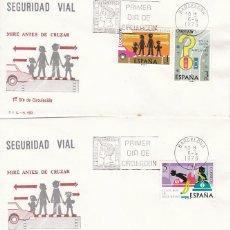 Sellos: EDIFIL 2312/4, SEGURIDAD VIAL, PRIMER DIA DE 6-4-1976 EN 2 SOBRES DEL SFC . Lote 100996995