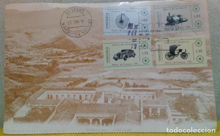 Sellos: TARJETA CON 4 SELLOS HISTORIA DEL TRANSPORTE. ANTES DE LA INAUGURACIÓN DEL METRO DE CARACAS 1981 - Foto 2 - 103980935