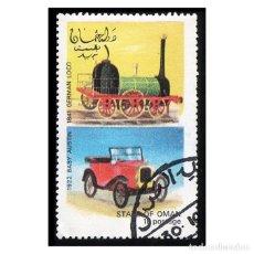 Timbres: OMAN 1972. COCHES Y TRENES. 1922 PEQUEÑO AUSTIN - 1841 LOCOMOTORA ALEMANA. Lote 113365299