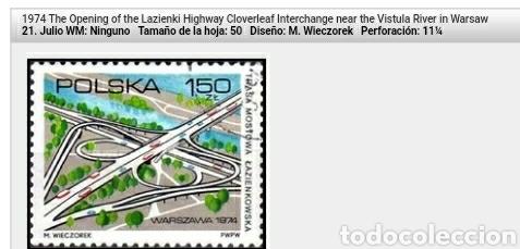 Sellos: Sellos de Polonia (Polska) matasellados. 1974. Carreteras. Coches. Autopistas. Rio. Arquitectura. C - Foto 2 - 114511327