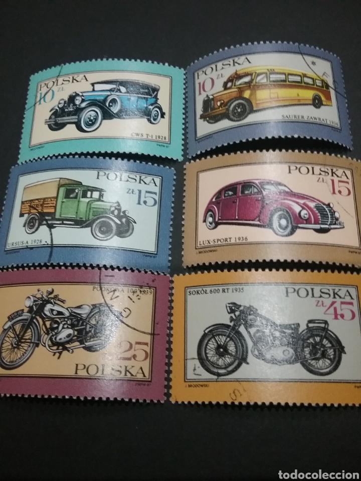 SELLOS DE POLONIA (POLSKA) MATASELLADOS. 1987. COCHES. MOTOS. MOTOCICLETA. VEHICULOS. CAMION. (Sellos - Temáticas - Automóviles)