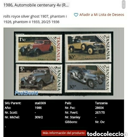 Sellos: Sellos R. U. Tanzania nuevos. 1986. Coches clasicos. Rolls Royce. Automoviles. Transportes - Foto 4 - 126340115