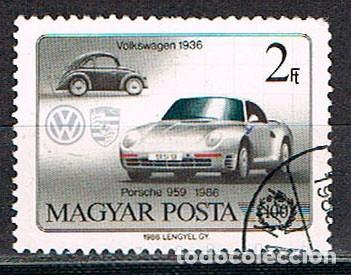 HUNGRIA Nº 3853, CENTENARIO DEL AUTOMOVIL: VOLKSWAGEN DE1936 Y PORSCHE 959 DE 1986 USADO (Sellos - Temáticas - Automóviles)