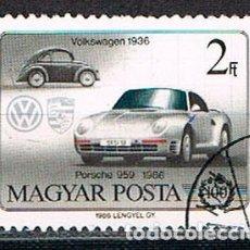 Sellos: HUNGRIA Nº 3853, CENTENARIO DEL AUTOMOVIL: VOLKSWAGEN DE1936 Y PORSCHE 959 DE 1986 USADO. Lote 268299294
