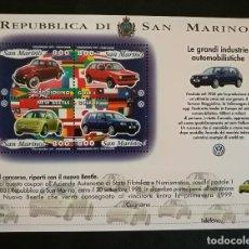 Sellos: SELLOS SAN MARINO 1997 HB-24 AUTOMOVILES VOLKSWAGEN. Lote 131917278