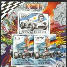 Sellos: BURUNDI 2012 HOJA BLOQUE SELLOS TEMÁTICA AUTOS FORMULA 1- COCHES MERCEDES BENZ- SCHUMACHER - FANGIO . Lote 133264962
