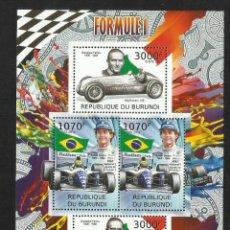 Sellos: BURUNDI 2012 HOJA BLOQUE SELLOS TEMÁTICA AUTOS FORMULA 1- COCHES- AYRTON SENNA - FARINA. Lote 133265026