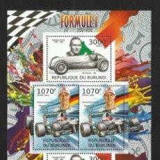 Sellos: BURUNDI 2012 HOJA BLOQUE SELLOS TEMÁTICA AUTOS FORMULA 1- COCHES- SCHUMACHER- FARINA. Lote 133265070