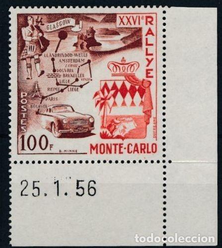 SELLO MONACO 1956 Y&T 441** XXVI RALLYE MONTECARLO (Sellos - Temáticas - Automóviles)