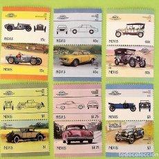 Sellos: NEVIS. 407/18 AUTOMÓVILES ANTIGUOS: RILEY BROOKLANDS. 1986. SELLOS NUEVOS Y NUMERACIÓN YVERT.. Lote 135382574