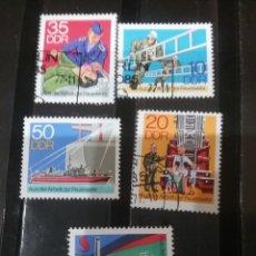 Sellos: SELLOS ALEMANIA, R.D (DDR) MTDO/1977/BOMBEROS/ESCALERA/CAMION/REANIMACIÓN/BARCO/LANCHA/BUQUE/NIÑOS/C. Lote 135622798