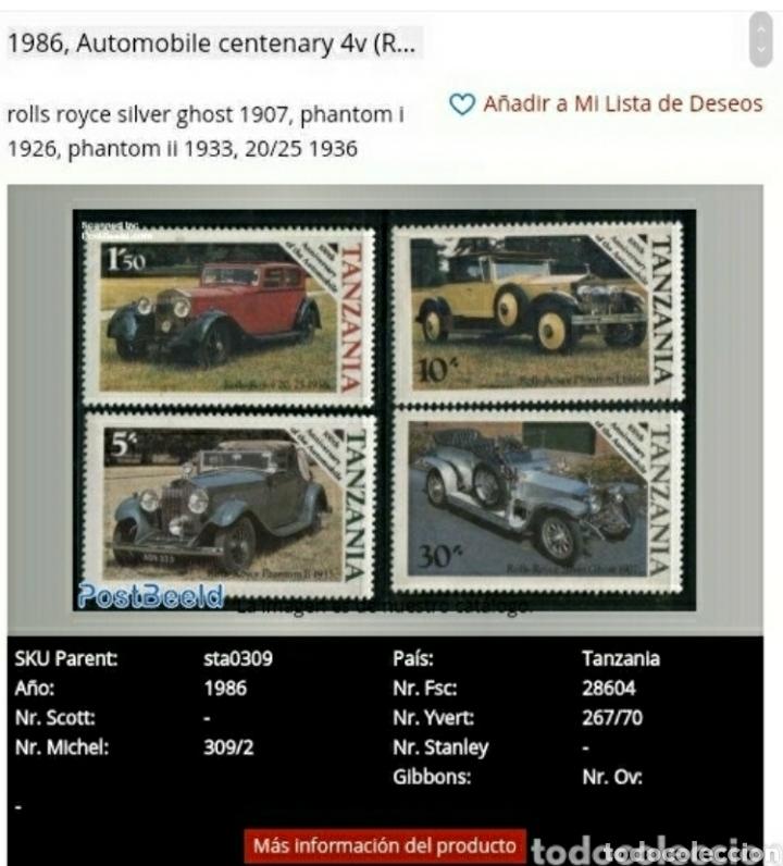 Sellos: Sellos R. U. Tanzania nuevos. 1986. Coches clasicos. Rolls Royce. Automoviles. Transportes. - Foto 2 - 141515489