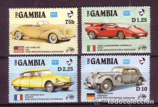 GAMBIA 1986 IVERT 598/601 *** EXPOSICIÓN FILATÉLICA AMERIPEX - CENTENARIO DEL AUTOMOVIL - COCHES (Sellos - Temáticas - Automóviles)