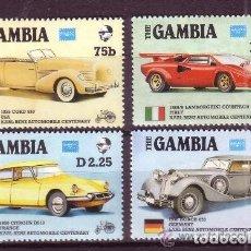 Sellos: GAMBIA 1986 IVERT 598/601 *** EXPOSICIÓN FILATÉLICA AMERIPEX - CENTENARIO DEL AUTOMOVIL - COCHES. Lote 143390406