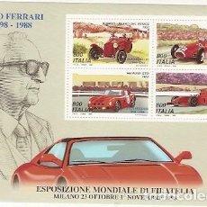 Sellos: ITALIA ** & HOMENAJE A ENZO FERRARI, EXPOSICIÓN MUNDIAL DE MILÁN 1998 (20). Lote 144460842