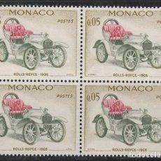 Sellos: MONACO IVERT 561, ROLLS ROYCE DE 1903, NUEVO *** EN BLOQUE DE 4. Lote 147484374