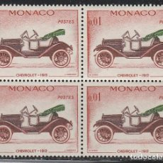 Sellos - MONACO IVERT 557, CHEVROLET DE 1912, NUEVO *** EN BLOQUE DE 4 - 147485062