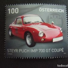 Sellos: AUSTRIA Nº YVERT 3043*** AÑO 2015. AUTOMOVIL STEYR PUCH IMP 700 GT COUPE. Lote 147781386
