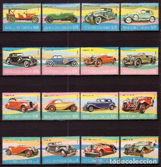 GUINEA ECUATORIAL 1977 IVERT 105 Y AEREO 89 *** AUTOMOVILES - COCHES ANTIGUOS (Sellos - Temáticas - Automóviles)