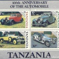 Sellos: TANZANIA - BLOQUE 4 SELLOS CON COCHES - ROLLS ROYCE - 100 ANIVERSARIO DE LOS AUTOMÓVILES. Lote 150282770