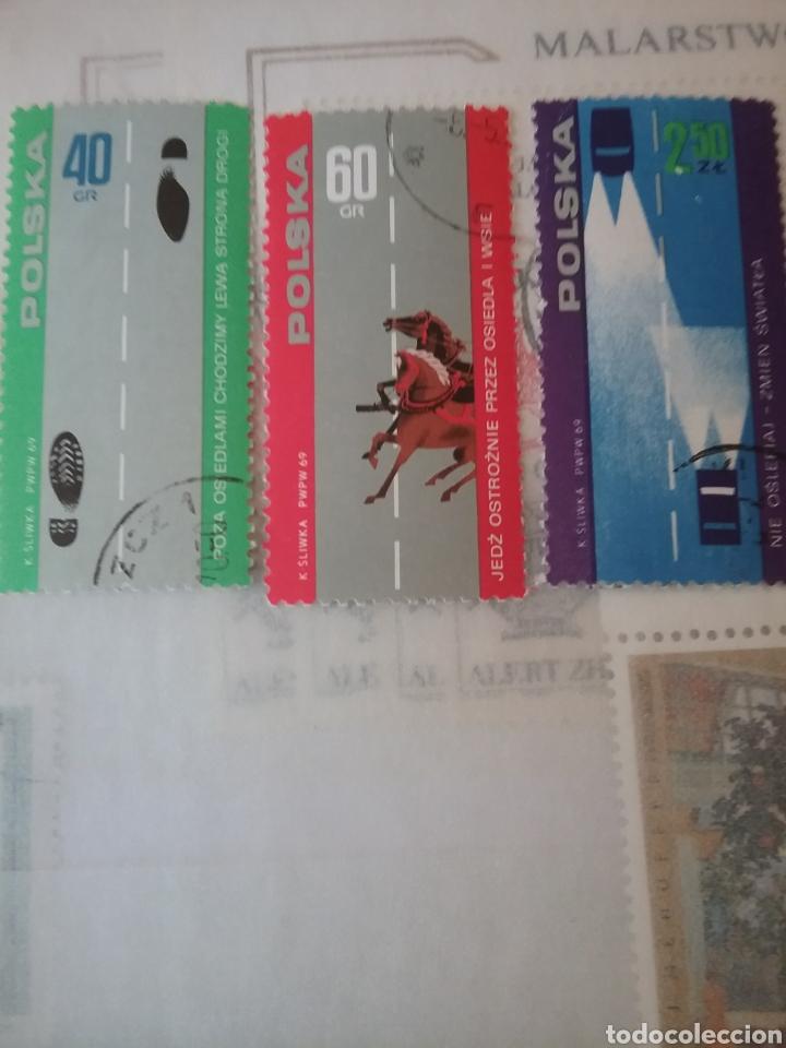 SELLOS R. POLONIA (POLSKA) MTDOS/1969/SEGURIDAD VIAL/CABALLO/PEATON/COCHES/CARRETERA/TRAFICO (Sellos - Temáticas - Automóviles)