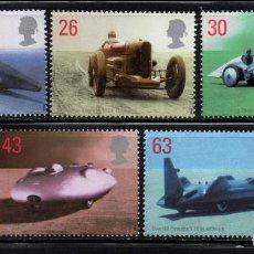 Sellos: GRAN BRETAÑA 2056/60** - AÑO 1998 - AUTOMOVILES - RECORDMANS BRITANICOS DE VELOCIDAD. Lote 153351506