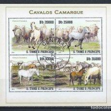 Sellos: SANTO TOME & PRINCIPE 2010 HB - FAUNA - CABALLOS CAMARGUE. Lote 155917334