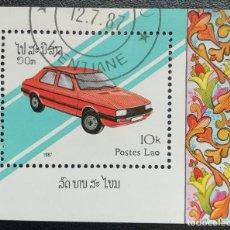 Sellos: 1987. AUTOMÓVILES. LAOS. HB 95. USADO.. Lote 159645102