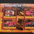 Sellos: TRANSPORTE-CAMIONES ESPECIALES-BOMBEROS-REPUBLICA CENTROAFRICANA-2012-MINIPLIEGO**(MNH). Lote 160174338