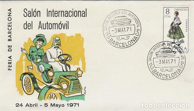AÑO 1971, SALON DEL AUTOMOVIL DE BARCELONA, EN SOBRE DE ALFIL (Sellos - Temáticas - Automóviles)