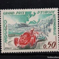 Sellos: MONACO 609** - AÑO 1963 - AUTOMOVILES - GRAN PREMIO DE FORMULA I DE EUROPA. Lote 167140884