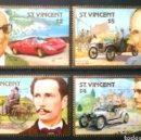 Sellos: PIONEROS DEL AUTOMÓVIL SERIE COMPLETA DE SELLOS NUEVOS DE SAN VICENTE. Lote 167977574