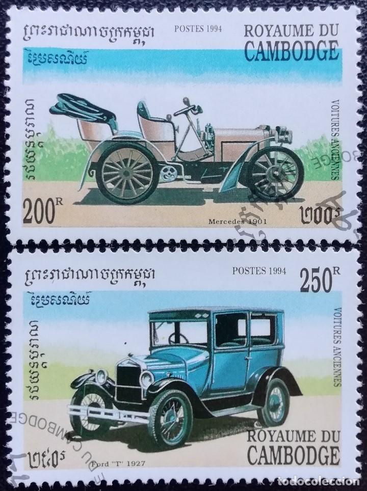 1994. AUTOMÓVILES. CAMBOYA. 1176, 1177. COCHES MERCEDES / 1901, FORD T / 1927. USADO. (Sellos - Temáticas - Automóviles)