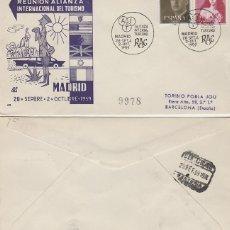 Sellos: AÑO 1959, REAL AUTOMOVIL CLUB, REUNION ALIANZA INTERNACIONAL DEL TURISMO, PANFILATELICAS CIRCULADO. Lote 178893465