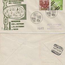 Sellos: AÑO 1959, RAC,REAL AUTOMOVIL CLUB, REUNION ALIANZA INTERNACIONAL DEL TURISMO, SOBRE ALFIL CIRCULADO. Lote 178893531