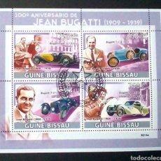Sellos: GUINEA BISSAU COCHES BUGATTI HOJA BLOQUE DE SELLOS USADOS. Lote 182849456