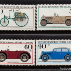 Sellos: ALEMANIA 955/58** - AÑO 1982 - AUTOMOVILES ANTIGUOS DEL MUSEO DE MUNICH. Lote 185996087