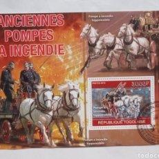 Sellos: ANTIGUOS VEHÍCULOS DE BOMBEROS HOJA BLOQUE DE SELLOS USADOS DE TOGO. Lote 187485957