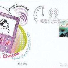Sellos: EDIFIL 4698, VALORES CIVICOS: ¡ATENTO A LA CONDUCCIÓN!, PRIMER DIA DE 9-1-2012 SFC. Lote 190235300