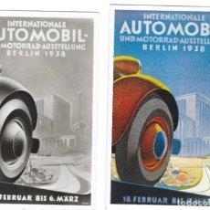 Sellos: ALEMANIA IMPERIO FERIA DEL AUTOMOVIL 1938 DOS TARJETAS CIRCULADAS. Lote 190434767