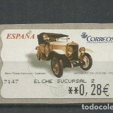 Sellos: ESPAÑA ATM AUTOMOVIL CAR ELCHE HISPANO SUIZA. Lote 191332925