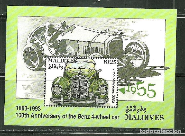 MALDIVAS 1993 HB IVERT 293 *** CENTENARIO 1º COCHE DE 4 RUEDAS DE KARL BENZ (Sellos - Temáticas - Automóviles)