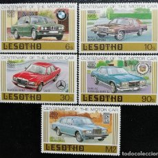 Timbres: 1985. LESOTHO. 632/636. CENTENARIO AUTOMÓVIL. BMW, FORD, MERCEDES, CADILLAC, R ROYCE. SERIE COMPLETA. Lote 192883503