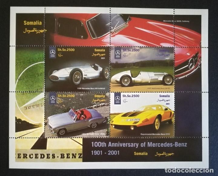 SELLOS SOMALIA 2001 CENTENARIO DE MERCEDES BENZ (Sellos - Temáticas - Automóviles)