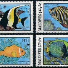Sellos: MALDIVAS 1986 IVERT 1077/80 *** FAUNA MARINA - PECES TROPICALES. Lote 208573568