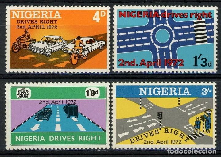 NIGERIA 1972 IVERT 270/3 ** CONDUCIÓN DEL AUTOMOVIL POR LA DERECHA - COCHES (Sellos - Temáticas - Automóviles)