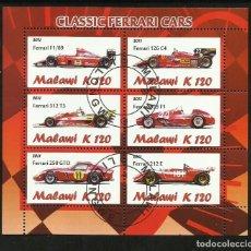 Sellos: MALAWI 2011 HOJA BLOQUE SELLOS FORMULA 1- FERRARI - AUTO CLASICOS DE CARRERA- CARS- AUTOMOVIL. Lote 217947538