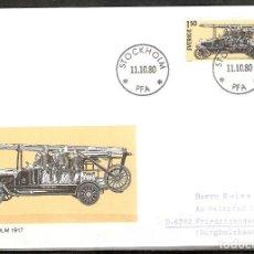 Sellos: SUECIA .1980. FDC. HISTORIA DEL AUTOMÓVIL SUECO. TIDAHOLM 1917. Lote 221295282