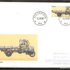 Sellos: SUECIA .1980. FDC. HISTORIA DEL AUTOMÓVIL SUECO. VABIS 1909. Lote 221295433