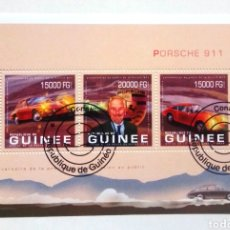 Sellos: GUINEA 2013 AUTOMÓVILES PORSCHE HOJA BLOQUE DE SELLOS USADOS EMISIÓN OFICIAL. Lote 222222142